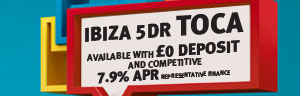 Seat Ibiza with 0 Deposit and Competitive 7.9% APR 